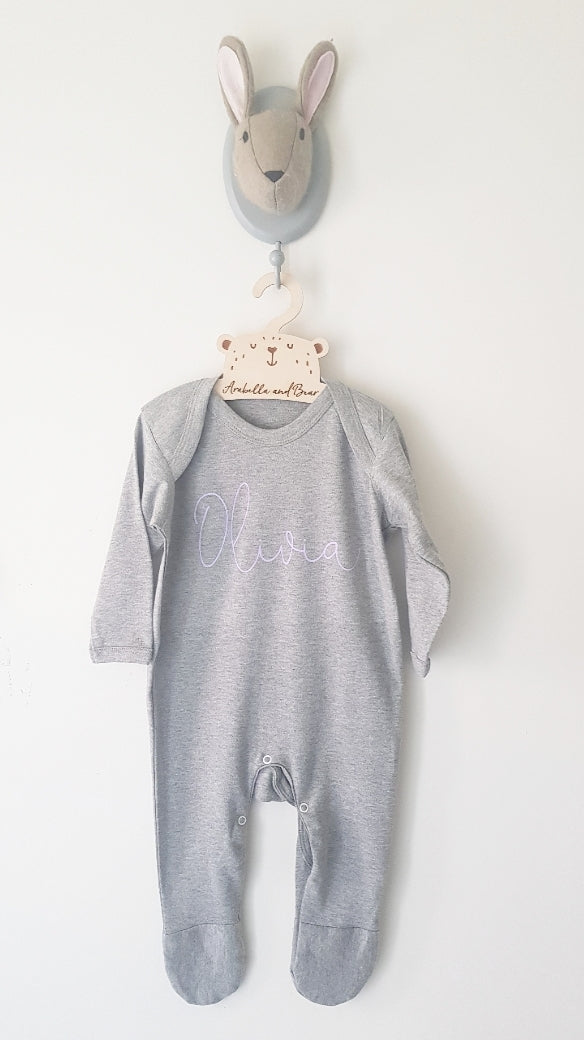Lilac on grey scribble name sleepsuit - all in one - loungewear