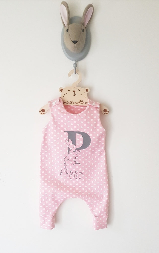 Peter Rabbit polka dot romper  pink - grey