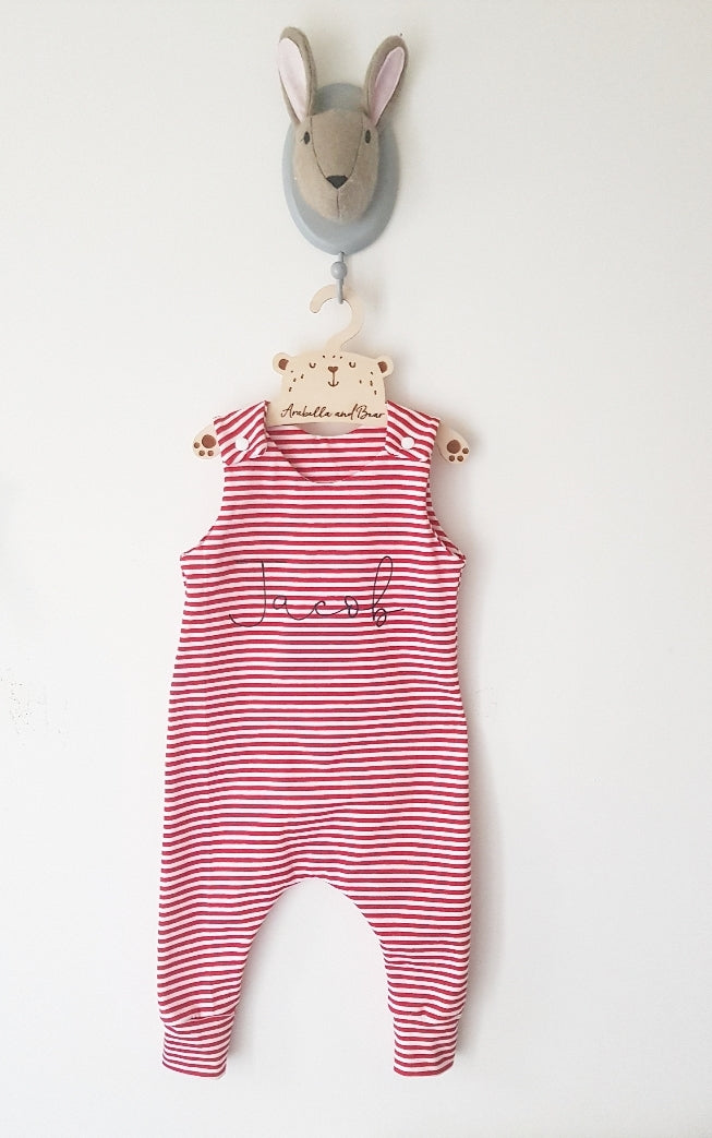 Red candy stripe scribble name romper - christmas