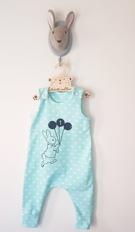 Peter Rabbit Balloon birthday romper - minty stars