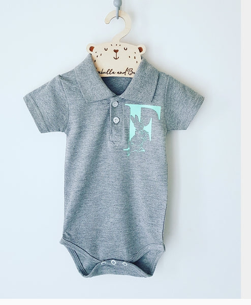 Custom Peter Rabbit initial polo bodysuit, Grey, Navy or Baby blue
