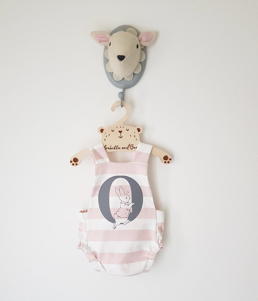 Custom pink striped Peter Rabbit cross over bubble romper