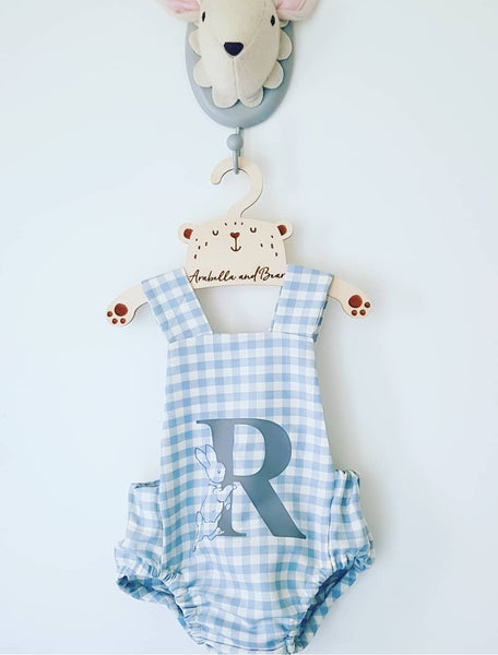 Custom blue check Peter Rabbit cross over bubble romper