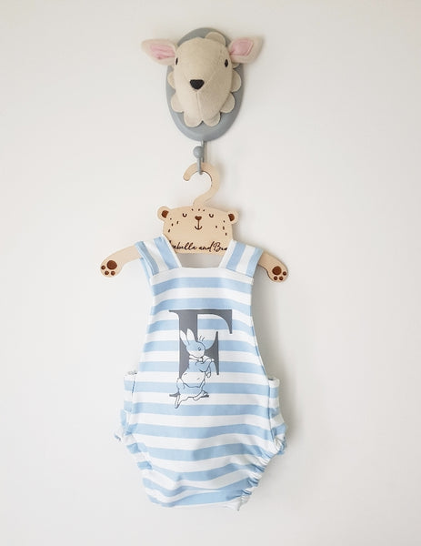 Custom Blue striped Peter Rabbit cross over bubble romper