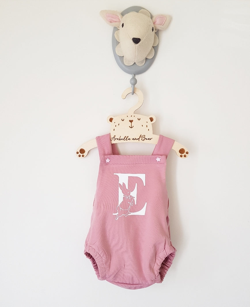Custom dusky pink Peter Rabbit cross over bubble romper