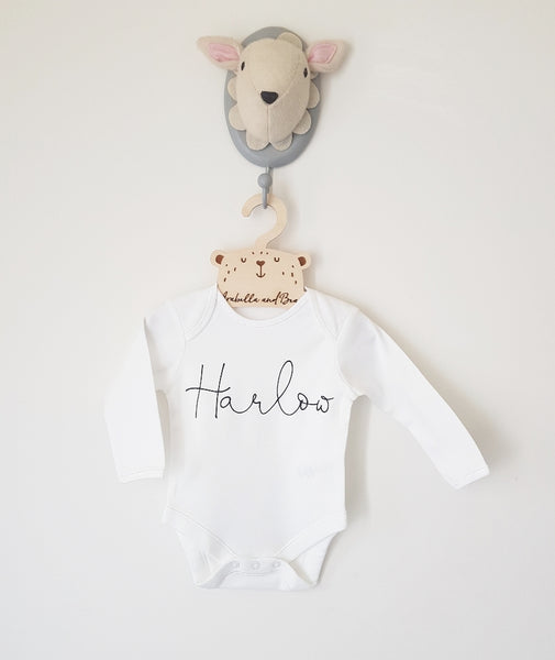 Scribble name bodysuit , long or short sleeved