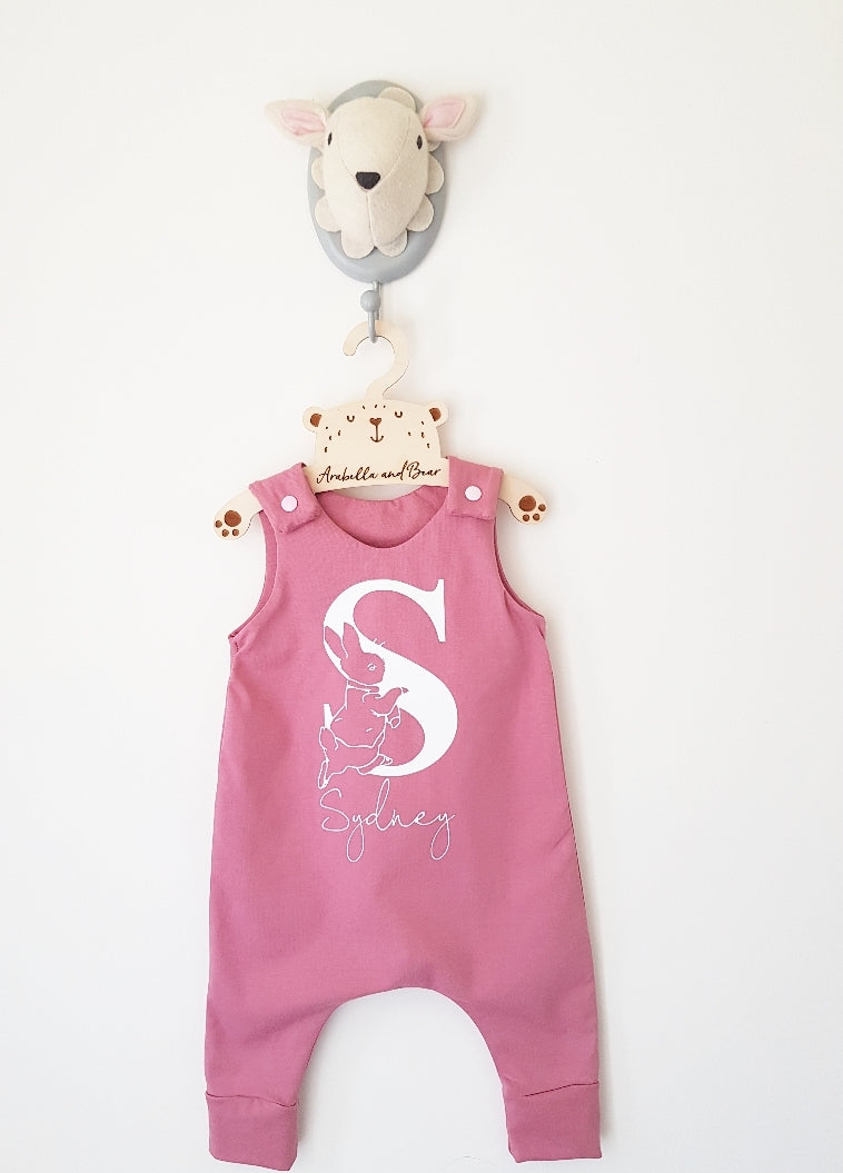 Custom Peter Rabbit romper , dusky pink
