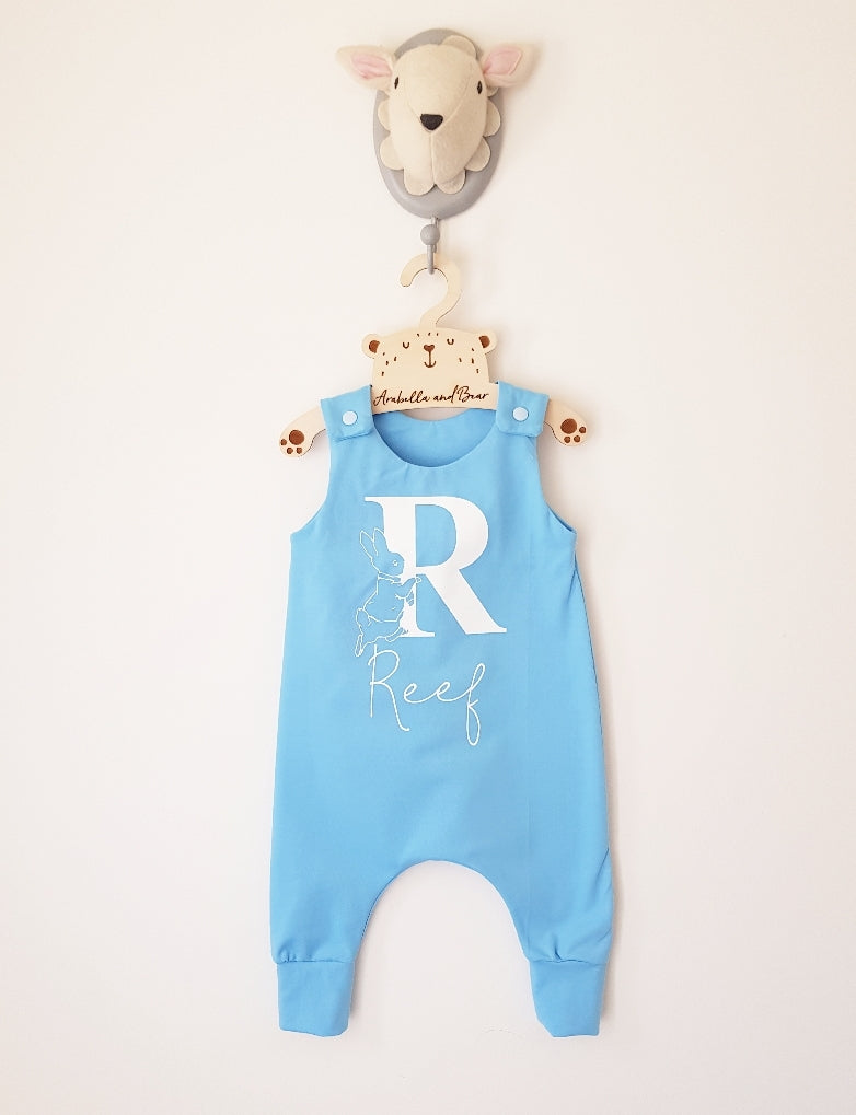 Custom Peter Rabbit romper sea blue and white