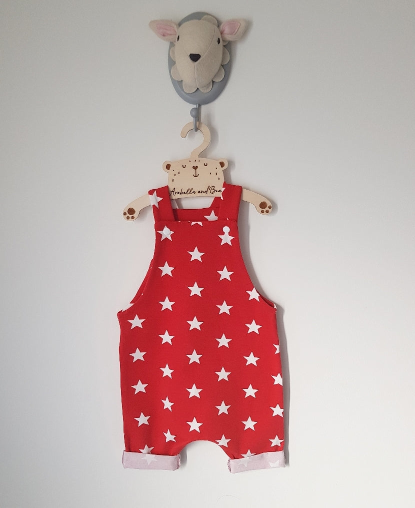 Red stars dungarees long or short