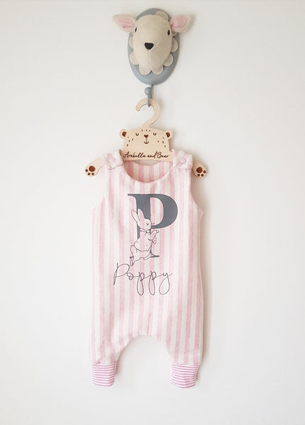 Candy stripe, blue or pink customised romper