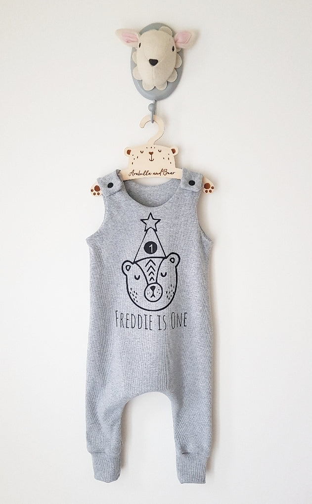 Custom Birthday Bear grey romper with childs name and age