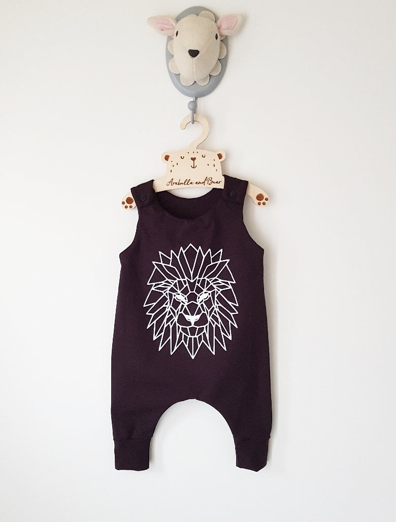 All black Geometric Lion romper dungarees