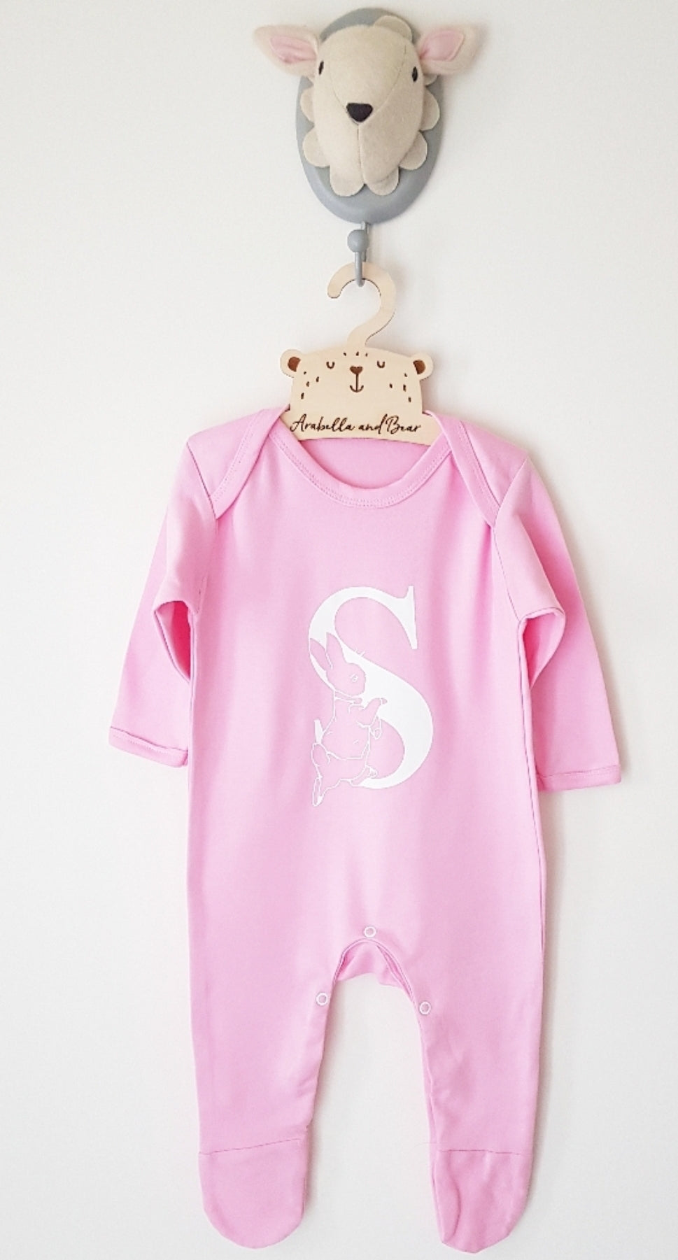 Peter Rabbit all in one - Baby Pink - Name / initial - loungewear