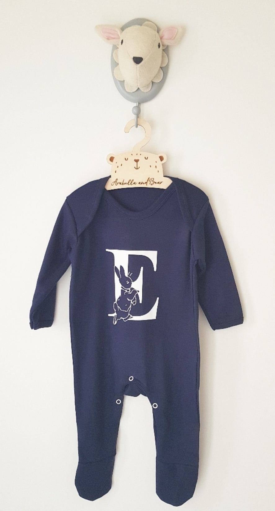 Peter Rabbit all in one - Navy Blue - Name / initial - loungewear