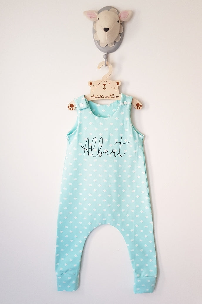 Scribble name minty stars romper - dungarees