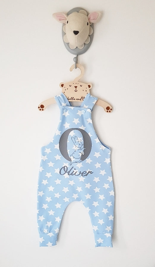 Baby blue or pink star Peter Rabbit dungarees/romper