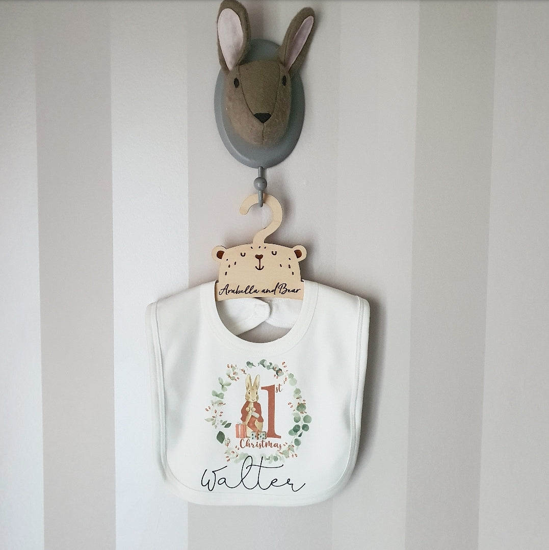 Peter Rabbit 1st Christmas bib