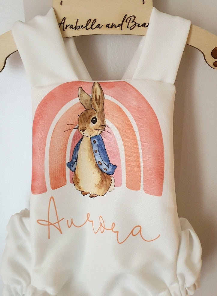 Peter Rabbit rainbow bubble romper. Pink or Blue