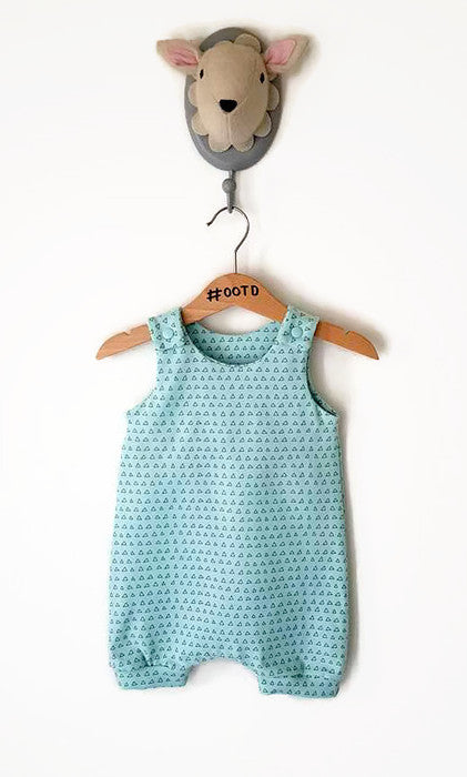 Minty triangle romper, long or short