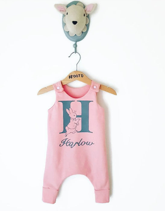 Peachy pink customised initial and name Peter Rabbit Long legged romper