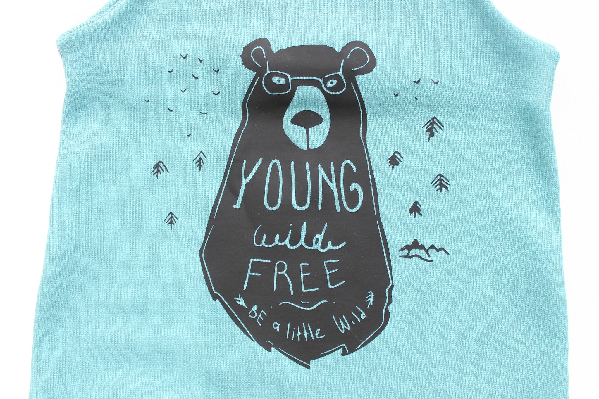 Organic ,Light turquoise Young, wild and free, Bear romper