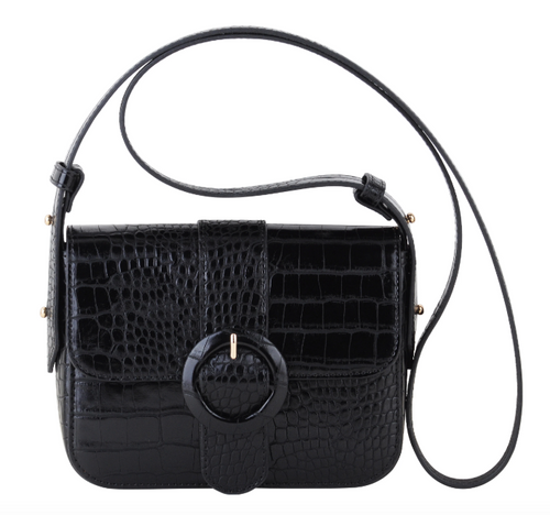 Croc Skin w/ Circle Buckle Crossbody