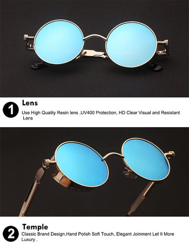 Round Metal Sunglasses Steampunk Designe Retro Vintage Sunglasses