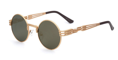 Luxury Metal Sunglasses Round Steampunk Coating Glasses Vintage Retro