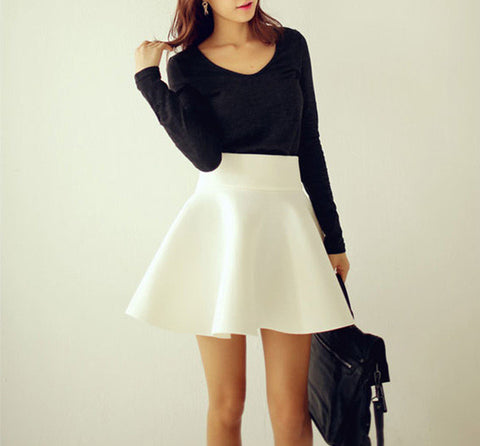 Puffy Skirt Women Solid Vintage