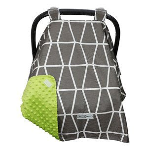 Owl Grey / Green Carseat Canopy with Matching Blanket