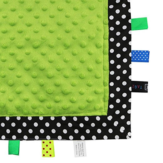 TAGZ Blanket (Black & White Polka Dot with Lime Dot-Minky)