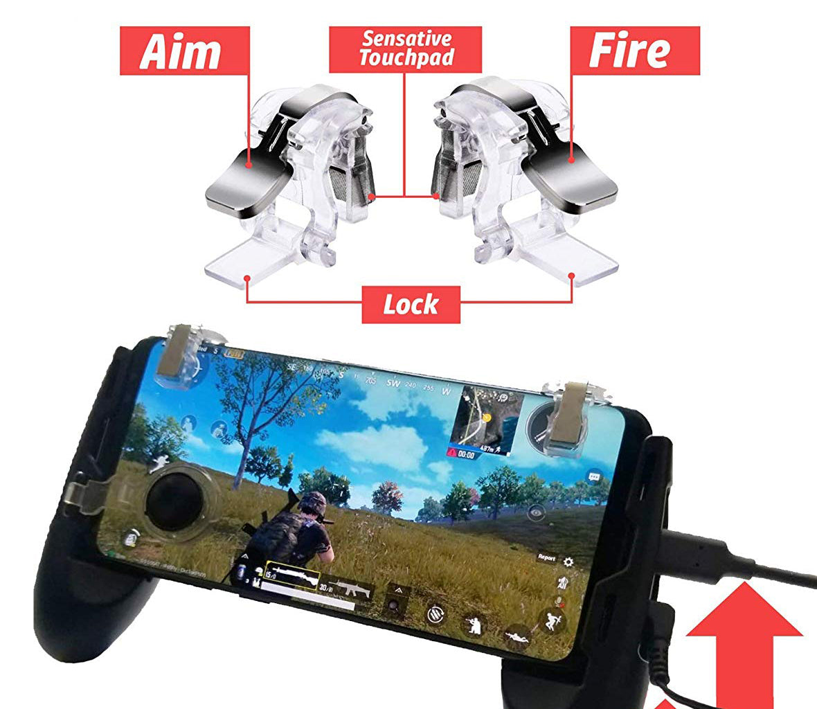 Fortnite & PUBG Mobile Game Controller including Joystick and 2X Quick Toggles