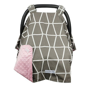 Owl Grey / Pink Minky Carseat Canopy with Matching Blanket
