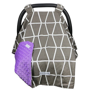 Owl Grey Carseat Canopy with Matching Blanket