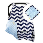 Navy Zigzag / Blue Carseat Canopy with Matching Blanket