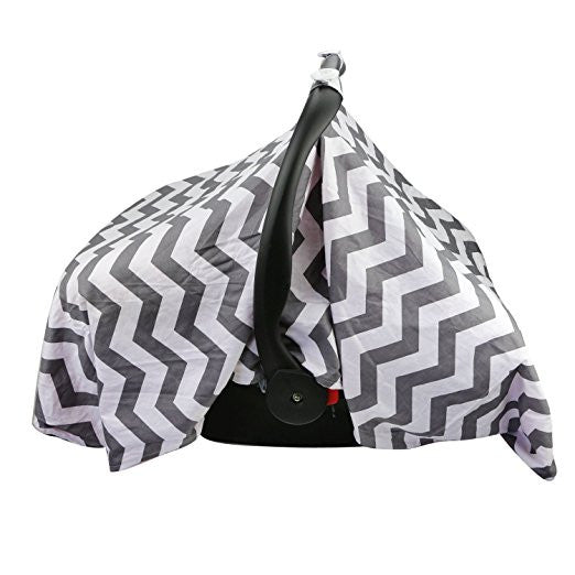 Grey Zigzag / Blue Carseat Canopy with Matching Blanket