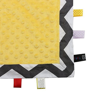 TAGZ Blanket (Grey Zigzag with Yellow Dot-Minky)