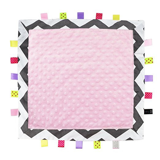 TAGZ Blanket (Grey Zigzag with Pink Dot-Minky)