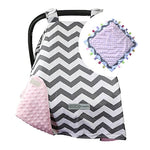 Grey Zigzag / Pink Carseat Canopy with Matching Blanket