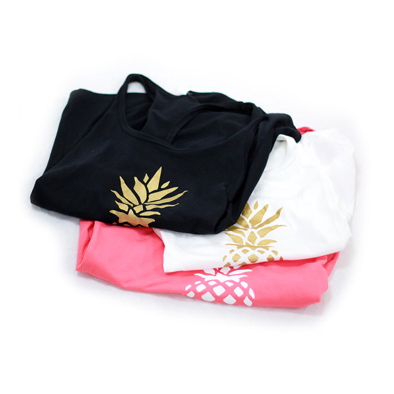 Pineapple Tanks in three colors: black, white, and pink