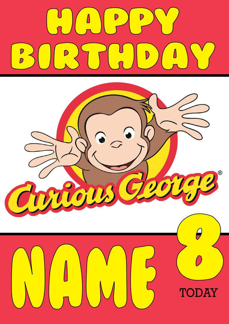 Kids cards page 6 foxy printing personalised prints birthday theme inspired kids adult personalised birthday card curious george birthday card 3 bookmarktalkfo Images