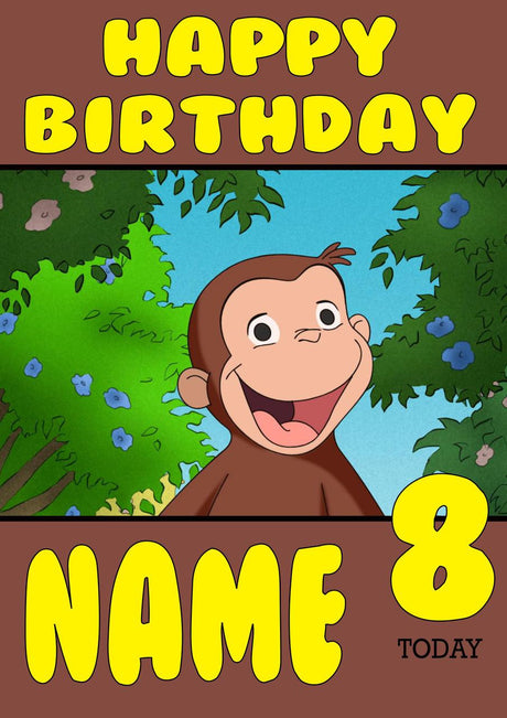 Kids cards page 6 foxy printing personalised prints birthday theme inspired kids adult personalised birthday card curious george birthday card 5 bookmarktalkfo Images