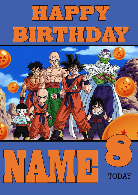 THEME INSPIRED Kids Adult Personalised Birthday Card Dragon Ball Z Birthday Card