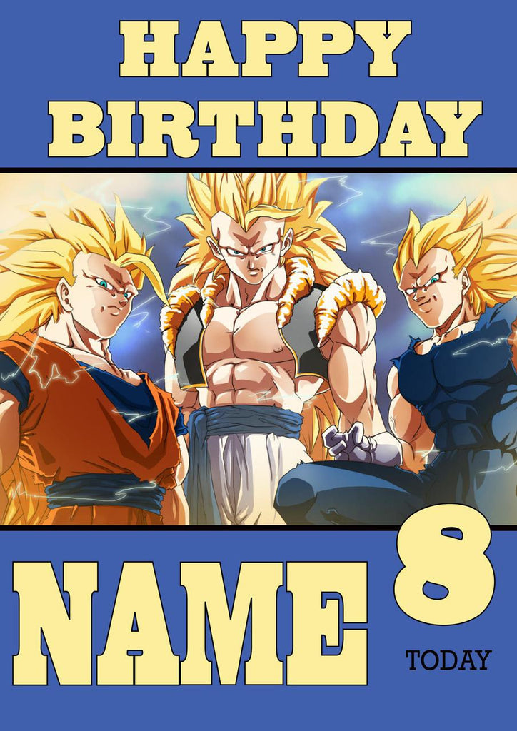 THEME INSPIRED Kids Adult Personalised Birthday Card Dragon Ball Z 2