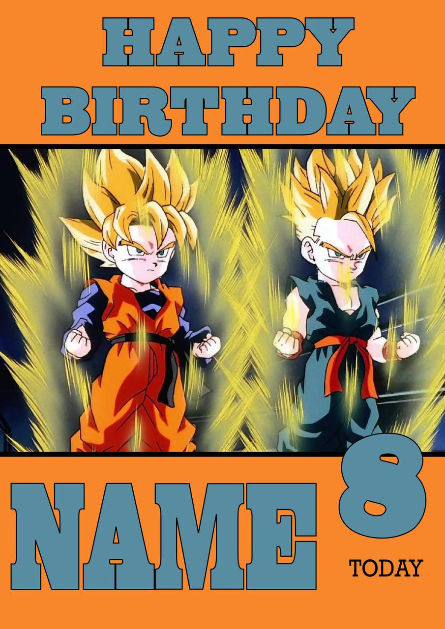 THEME INSPIRED Kids Adult Personalised Birthday Card Dragon Ball Z