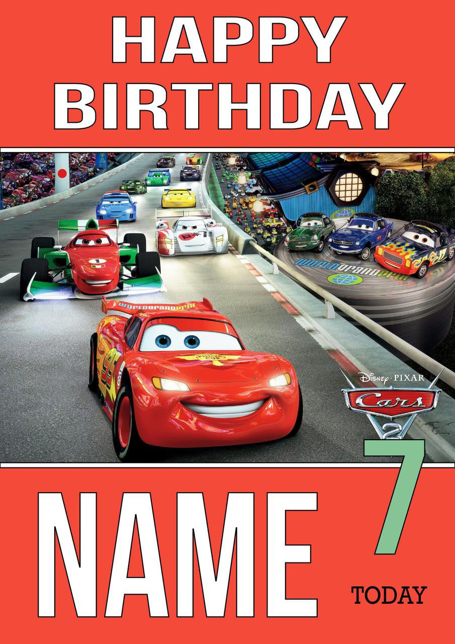 THEME INSPIRED Kids Adult Personalised Birthday Card Cars 2