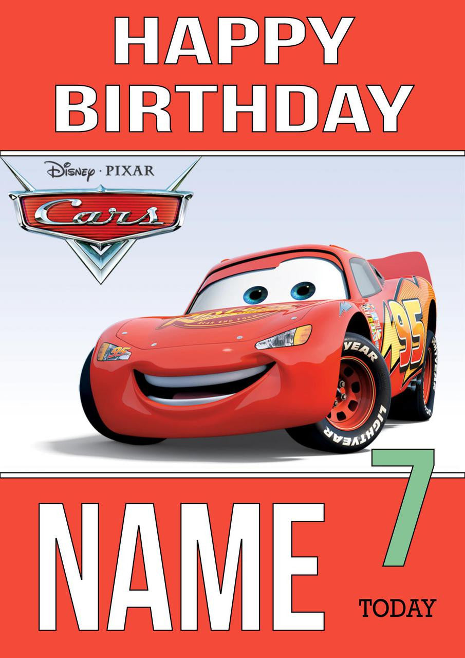 THEME INSPIRED Kids Adult Personalised Birthday Card Cars 3