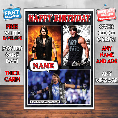 AJ Styles New Design 1 KE Inspired Style Personalised Wrestling WWE Birthday Card New 2017