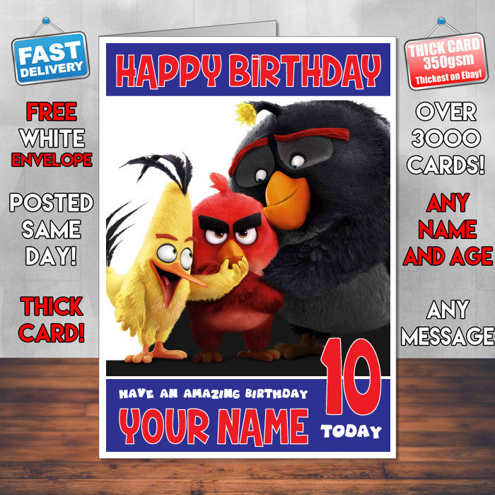 ANGRY BIRDS 3 BM1 THEME INSPIRED Style PERSONALISED Kids Adult FUNNY Birthday Card