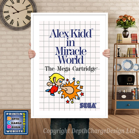 Alex Kidd Miracle World Inspired Retro Gaming Poster A4 A3 A2 Or A1